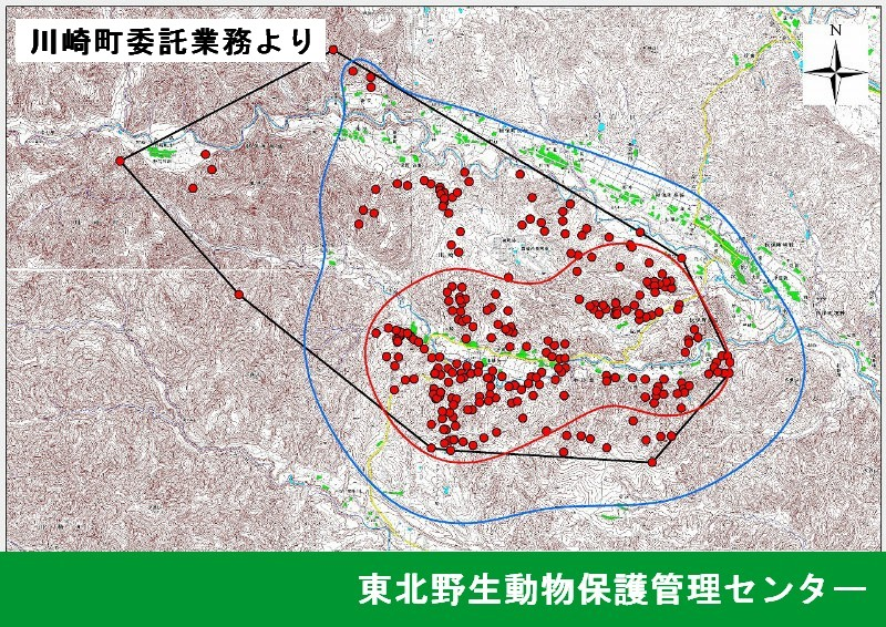 GISを用いた群れの遊動域の可視化